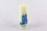 Kerze mit blauem Motiv